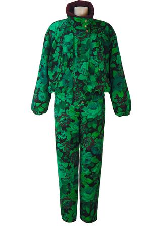 Belfe Green, Purple & Black Floral Ski or Apres Ski Suit Two Piece - S/M