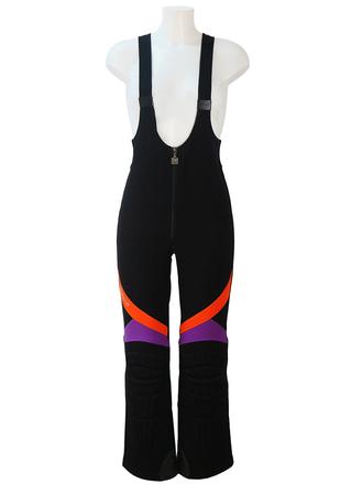 Gigi Rizzi Black Salopettes with Orange & Purple Panel Detail - S/M
