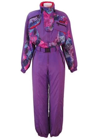 McRoss Purple Ski Suit with Blue, Pink & Purple Abstract Floral Pattern - S