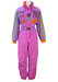 Lilac Ski Suit with Abstract Pink & Orange Floral Pattern and Feature Sleeves - M/L