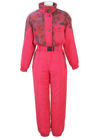 McRoss Pink Ski Suit with Orange, Pink & Purple Floral Pattern - S