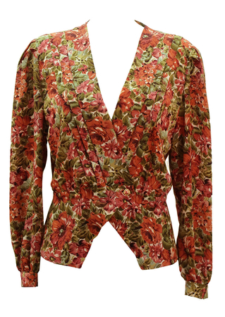 Vintage 80's Peach & Green Floral Patterned Blouse - M