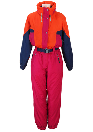 Gigi Rizzi Hot Pink, Orange & Purple Ski Suit - M