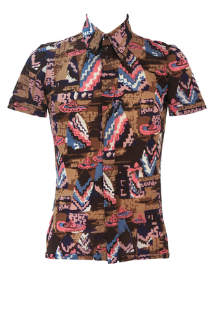 Vintage 70's Short Sleeved Shirt with Mexican People Imagery in Brown, Pink & Purple - S