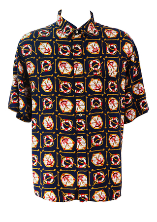 Navy Blue Short Sleeved Shirt with Nautical Print in Red, White and Yellow - XL/XXL