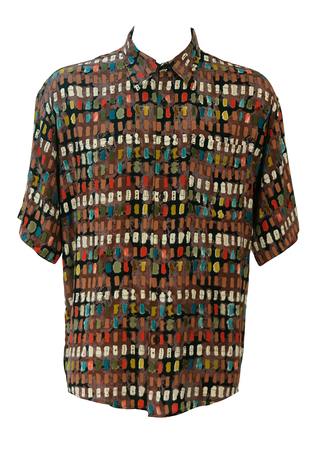 Vintage 90's Oversized Short Sleeved Shirt with Teal, Green, Ochre & Red Abstract Pattern - L or XL/XXL