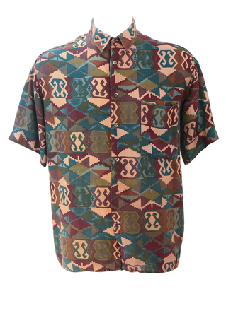 Vintage 90's Short Sleeved Shirt with Burgundy, Green & Teal Geometric Aztec Pattern - L/XL