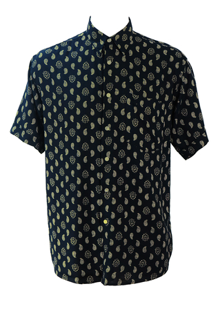 Vintage 90's Black Short Sleeved Shirt with Cream Paisley Pattern - 90's M or L/XL