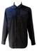 Black Western Shirt with Gold, Pink & Blue Metallic Thread Stripes - L/XL