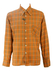Vintage 70's Brown Shirt with Orange, Red & White Check Pattern - New - L
