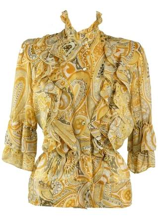 Yellow, Grey & Brown Paisley Print Frill Blouse - M