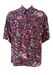 Purple Short Sleeved Shirt with Burgundy, Pink & Green Floral Print - L/XL
