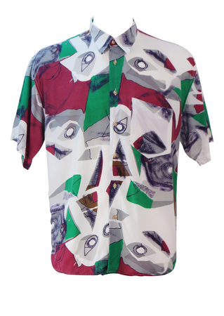 Vintage 90's White Short Sleeved Shirt with Burgundy, Green & Grey Abstract Pattern - L/XL