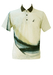Australian Grey Polo Shirt with Abstract Blue, Teal & Taupe Pattern - M