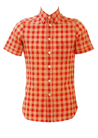 Vintage 70's Red Short Sleeved Shirt with White Check Pattern - S/M
