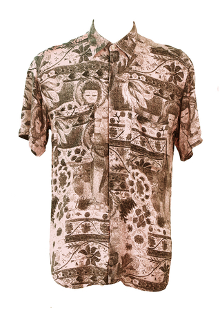Vintage 90's Soft Pink Short Sleeved Shirt with Pencil Drawing Buddah Style Pattern - M/L