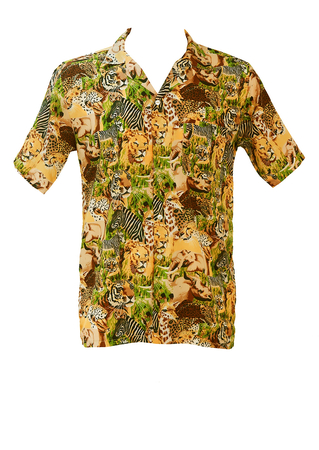 Short Sleeved Shirt with Multi Safari Animal Montage in Brown, Green & Black - M