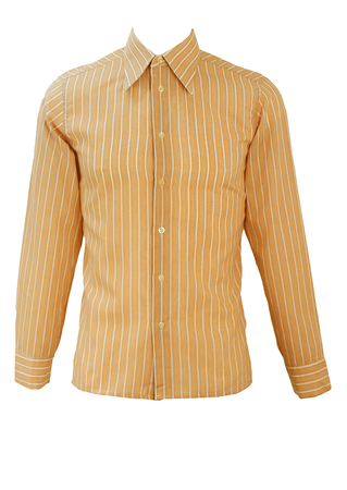 Vintage 70's Light Brown & White Striped Shirt with Mini Polka Dots - S