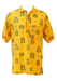 Yellow Short Sleeved Shirt with Brown & Green Tribal Heads Motif Pattern - L/XL