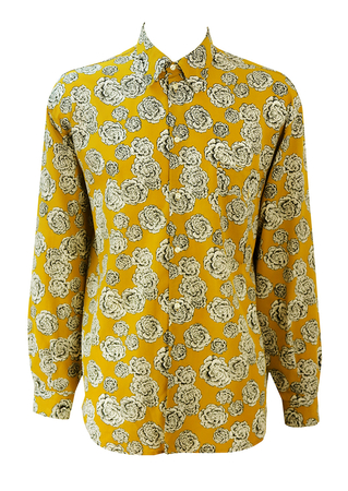 Long Length Ochre Coloured Shirt with Black & White Floral Pattern - 90's L or XL