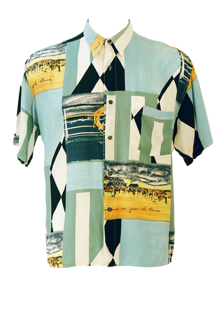 Short Sleeved Shirt with Nautical Beach Theme & Harlequin Pattern in Blue, White & Black - XL