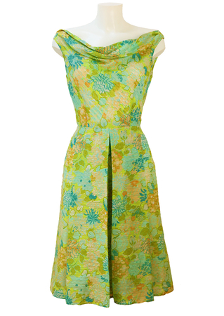 Vintage 50's Cowl Neck Dress with Peach, Blue & Green Floral Print - S