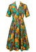 Vintage 50's Midi Day Dress with Crosshatch Patchwork Pattern in Purple, Blue, Brown & Ochre - S/M