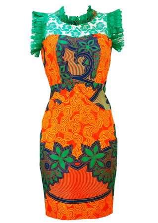 Above the Knee Dress with Orange, Jade & Blue African Print & Turquoise Lace - S/M