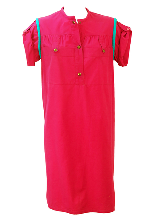 Fuchsia Pink 80's Above the Knee Dress with Roll up Sleeves & Turquoise Piping - M