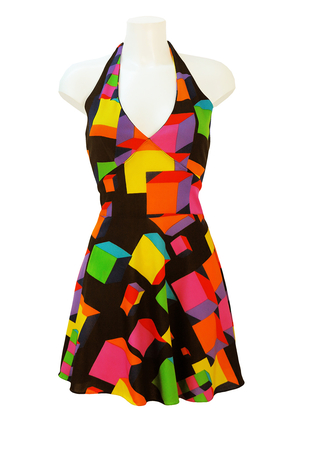 Vintage 70's Halterneck, Backless Mini Dress with Multicoloured 3D Cubes Pattern - S