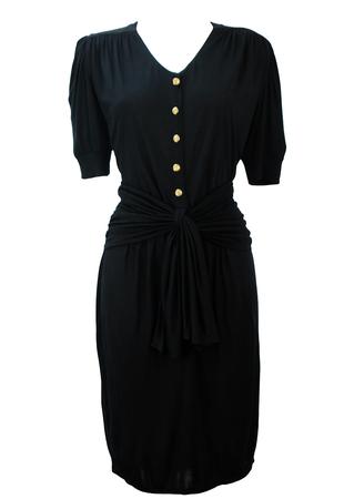 Vintage 80's Lightweight Black Jersey Midi Dress with Tie Front Sash Belt - M