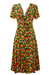 Colourful Short Sleeved Midi Dress with Red, Yellow & Blue Floral Pattern & Tie Front Detail - M