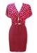 Fuchsia Pink & Black Polka Dot & Stripe Tie Front Mini Skirt & Top Two Piece - XS/S