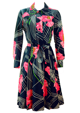 Vintage 70's Navy Blue Midi Dress with Bold Floral Pink & White Pattern - M