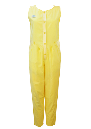 Lemon Yellow Jumpsuit with Satin Trim Detail - M