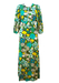 Vintage 70's Blue, Yellow, Green & White Floral Maxi Dress with 3/4 Length Gathered Sleeves - S
