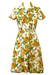 Vintage 50's Short Sleeved Day Dress with White, Yellow & Orange Floral Print - S