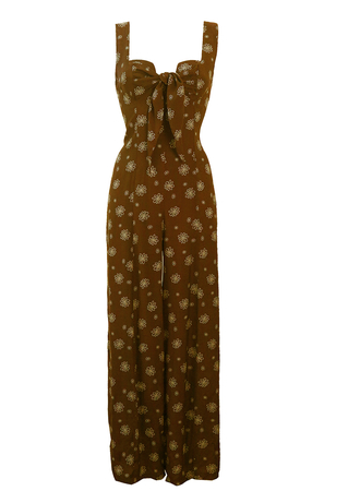 Brown & White Floral Strappy Jumpsuit with Tie Front Detail - S/M