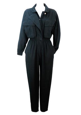 Vintage 80's Batwing Black Jumpsuit - M