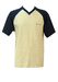 Champion Grey Marl T-Shirt with Navy Blue Saddle Shoulder & Sleeves - L