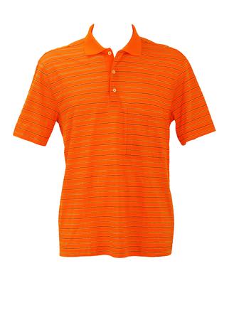 Orange Polo Shirt with Black & Blue Hellenic Patterned Stripes - L