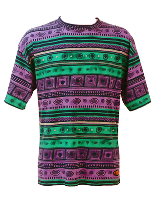 Vintage 90's Green, Purple & Blue Striped T-Shirt with Geometric Motifs - 90's L or XL