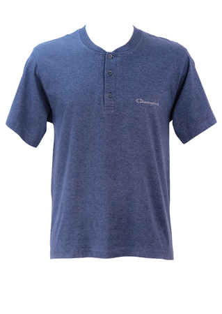 Champion Blue Marl 3 Button T-Shirt - M