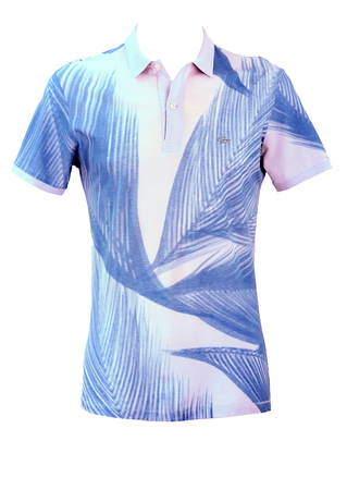 Lacoste Pale Lilac Slim Fit Polo Shirt with Blue Palm Leaf Pattern - M