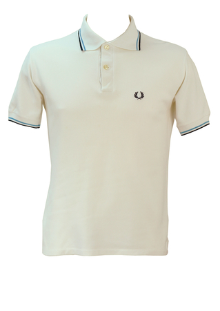 Vintage Fred Perry White Polo Shirt with Two Tone Blue Striped Trim - M
