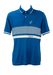 Teal Blue Australian Polo Shirt with White Striped Pattern - M/L