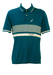 Teal Blue Australian Polo Shirt with White Striped Pattern - M/L