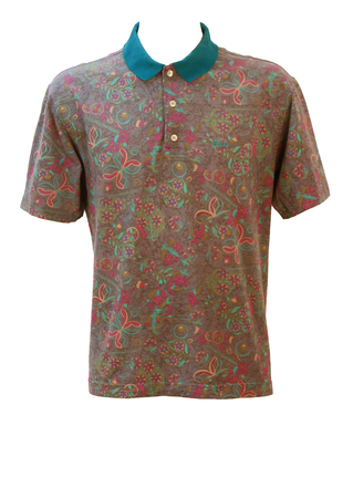 Fila Mark Calcavecchia PGA Polo Shirt with Multi colour Abstract Floral Pattern - L/XL