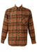 Orange, Brown & Black Checked Flannel Shirt - L/XL