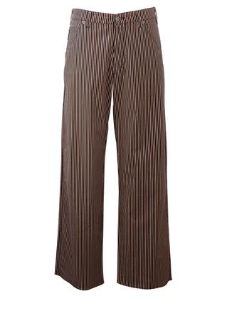 "Armani Jeans Black & Beige Striped Wide Leg Trousers - 34"""
